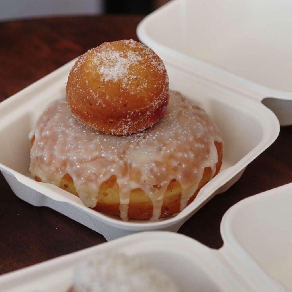 Vegan vanilla donut and kiltie dot at the Kilted Donut Edinburgh
