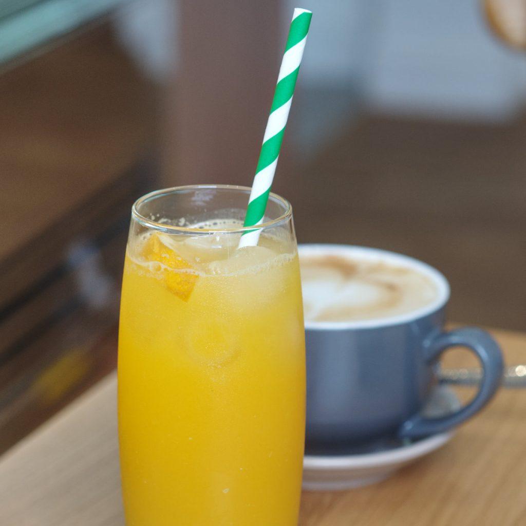 Vegan orange juice at Bakery Andante Edinburgh