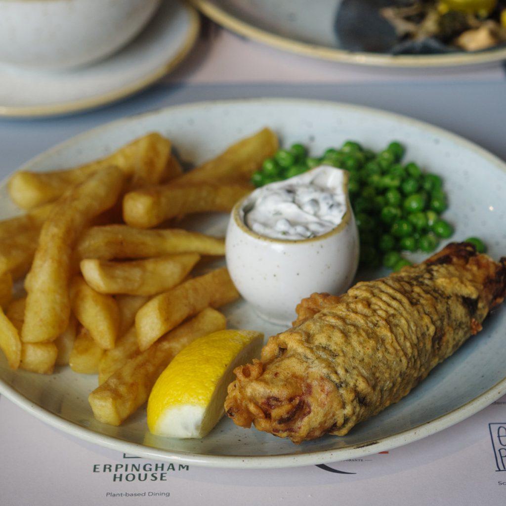 Vegan fsh and chips at Erpingham House